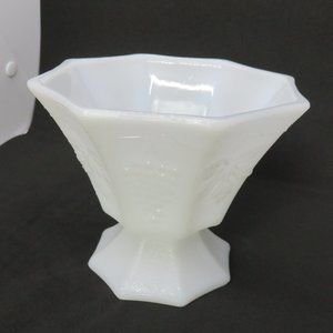 White Milk Glass Compote Grapes & Leaves Embossed